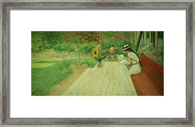 The First Lesson Framed Print by Carl Larsson