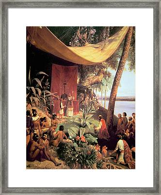The First Mass Held In The Americas Framed Print by Pharamond Blanchard