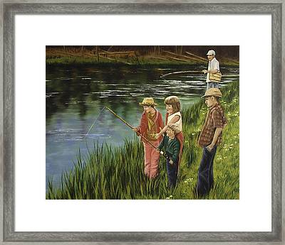 The Fishing Lesson Framed Print by Darla Sittman