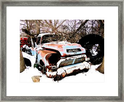 The Fixer Upper Old Gmc Farm Truck Framed Print
