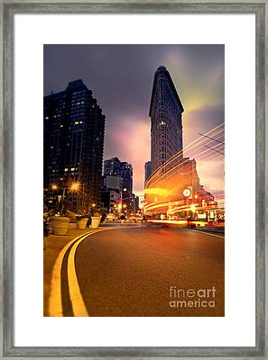 The Flat Iron Building With Some Magic Happening Framed Print by John Farnan
