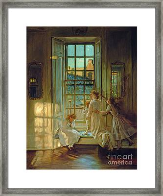 The Flight Of The Swallows Framed Print by John Henry Lorimer