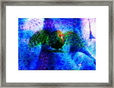 The Flying Fruit Bat Blue Framed Print