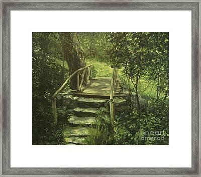 The Footbridge Framed Print by Michael John Cavanagh