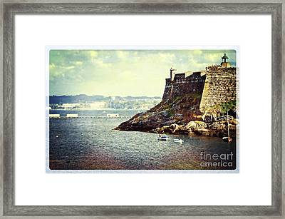 The Fort On The Harbor - La Coruna Framed Print by Mary Machare