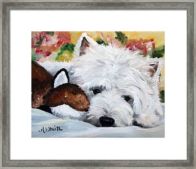 The Fox And The Hound Framed Print by Mary Sparrow