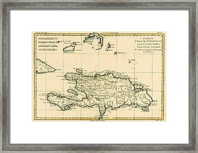The French And Spanish Colony Of The Island Of St Dominic Of The Greater Antilles Framed Print by Guillaume Raynal