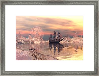 Framed Print featuring the digital art The Frozen North by Claude McCoy
