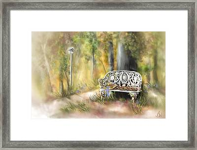 Framed Print featuring the painting The Garden Bench by Bonnie Willis