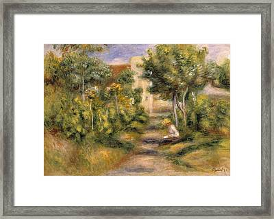 The Garden In Cagnes Framed Print by Pierre Auguste Renoir