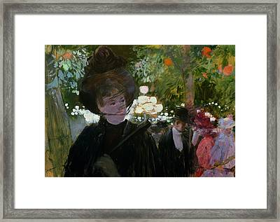 The Garden In Paris Framed Print by Jean Louis Forain