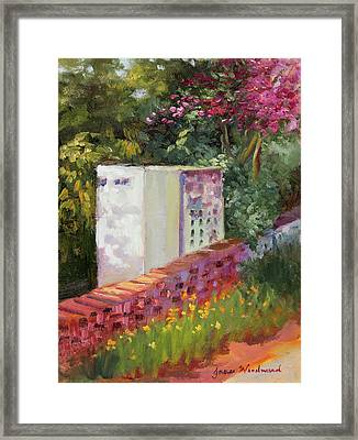 The Garden Wall Framed Print by Jane Woodward