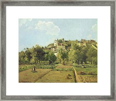 The Gardens Of The Hermitage Framed Print by Camille Pissarro