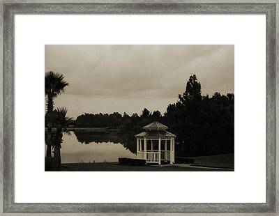 Framed Print featuring the photograph The Gazebo At The Lake by DigiArt Diaries by Vicky B Fuller