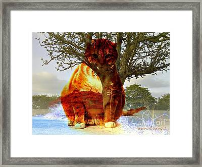 The Genie Of The Island Framed Print by Fania Simon
