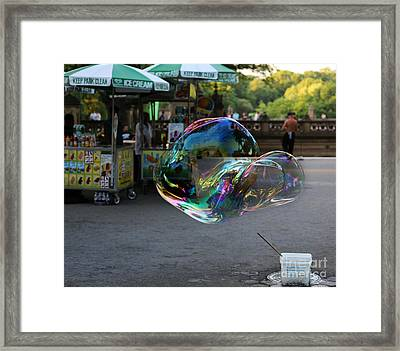 The Giant Bubble At Bethesda Terrace Framed Print