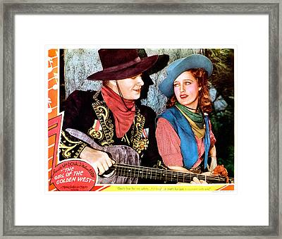 The Girl Of The Golden West, From Left Framed Print by Everett