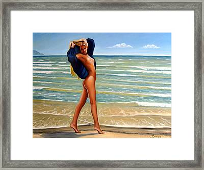 The Girl On The Beach Framed Print by Dimitris Papadakis