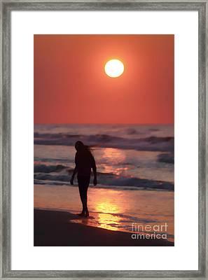 The Girl On The Beach Framed Print