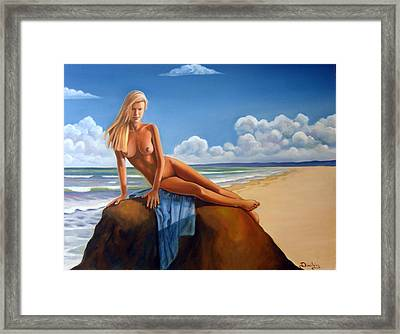 The Girl On The Rock Framed Print by Jim Papas