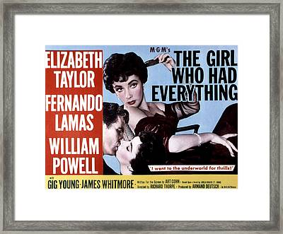 The Girl Who Had Everything, Elizabeth Framed Print by Everett