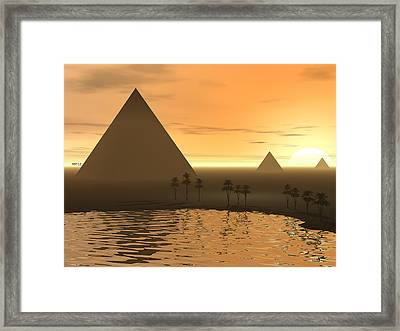 Framed Print featuring the digital art The Giza Necropolis by Phil Perkins