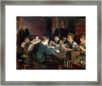 The Glass Blowers Framed Print by Charles Frederic Ulrich