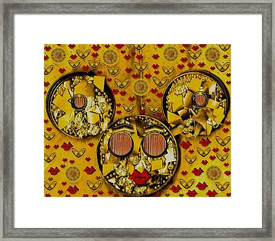 The Global Mickey Mouse In Gold Color Framed Print
