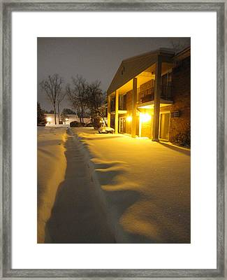 The Glow Of Golden Snow Framed Print by Guy Ricketts
