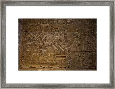 The Gods Horus, Hathor And The Pharaoh Framed Print