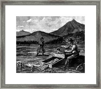 The Gold Rush, Prospector Using Framed Print by Everett