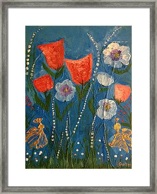 The Golden Angels And Flowers Framed Print by Pretchill Smith
