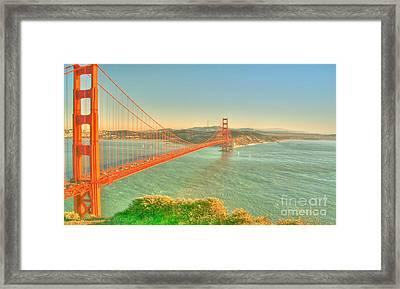 The Golden Gate Bridge  Fall Season Framed Print by Alberta Brown Buller