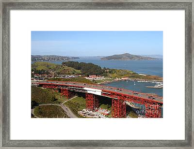 The Golden Gate Bridge North Side Overlooking Angel Island And Tiburon And Horseshoe Bay . 7d14494 Framed Print by Wingsdomain Art and Photography