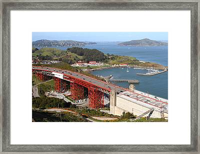 The Golden Gate Bridge North Side Overlooking Angel Island And Tiburon And Horseshoe Bay . 7d14540 Framed Print
