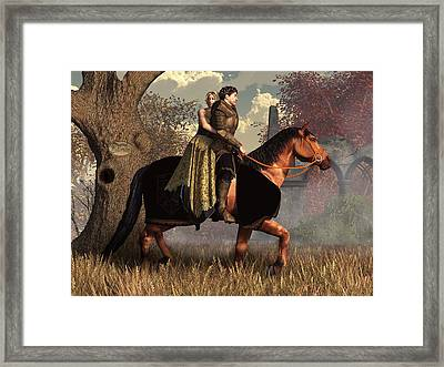 The Golden Knight And His Lady Framed Print by Daniel Eskridge