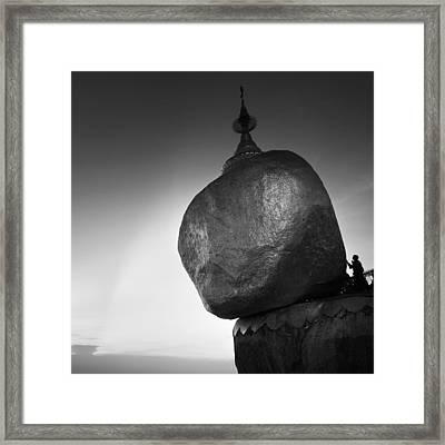 The Golden Rock Framed Print by Nina Papiorek