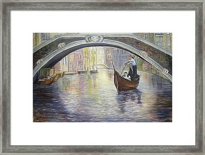 The Gondolier Venice Italy Framed Print
