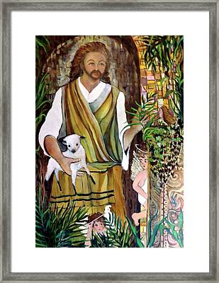 The Good Shephard At The Door Framed Print