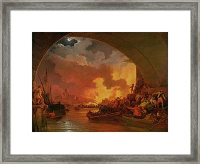 The Great Fire Of London Framed Print by Philip James de Loutherbourg