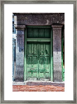 The Green Door In The French Quarter Framed Print by Bill Cannon