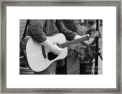 The Guitar Player In Black And White Framed Print