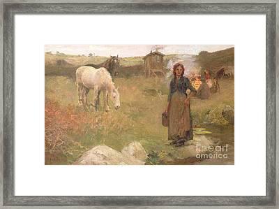 The Gypsy Camp Framed Print by Harold Harvey