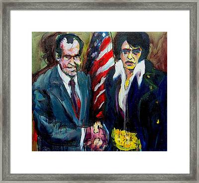 The Hand Shake Framed Print by Les Leffingwell
