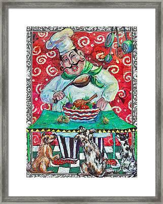 The Happy Chef Framed Print by Li Newton