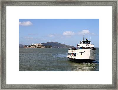 The Harbor King Ferry Boat On The San Francisco Bay With Alcatraz Island In The Distance . 7d14355 Framed Print