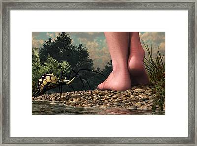 The Hazards Of Barefoot Hiking Framed Print