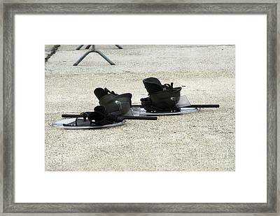 The Helmet, Shield And Baton Used Framed Print by Luc De Jaeger