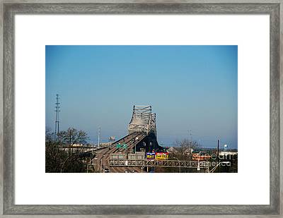 The Horace Wilkinson Bridge Over The Mississippi River In Baton Rouge La Framed Print by Susanne Van Hulst