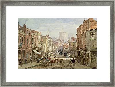 The Household Cavalry In Peascod Street Windsor Framed Print by Louise J Rayner